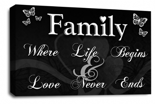 Family Quote Wall Art Picture Black White Grey Love Print